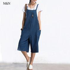 Retro Women Capris Loose Large Size Female Jumpsuit Denim Pants Big Pocket Blue Jeans Casual Fashion Trousers Pants