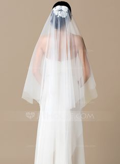 [US$ 22.99] One-tier Chapel Bridal Veils With Cut Edge