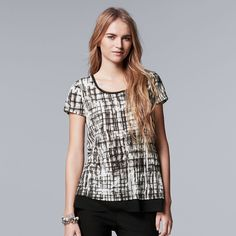 Women's Simply Vera Vera Wang Crinkle Tee, Size: Medium, Oxford