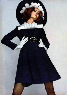 Model wearing fashion by Jeanne Lanvin for L'Officiel 1968.