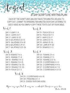 Sweet Blessings: August Scripture Writing Plan