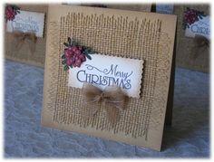 Handmade Christmas Cards Believe Christmas Paper Crafts, Homemade Christmas Cards, Burlap Christmas, Christmas Cards To Make, Homemade Cards, Holiday Cards, Merry Christmas, Burlap Card, Winter Cards
