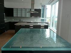 Aqua clear glass countertop