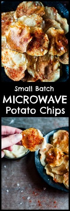 Make a batch of these potato chips in two minutes in your microwave! They're crispy and crunchy, and you can flavor them with whatever seasonings you wish.