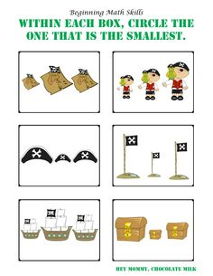 """Circle the Smallest"" Pirate Themed Worksheet"