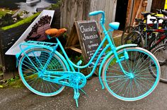 Blue Bike Aqua, Teal, Turquoise, Bicycles, Beautiful Places, Bike, How To Wear, Photography, Bicycle