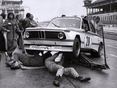 Mechanics working on an Alpina-BMW 2002 Group 2 - frontside shot