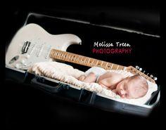 newborn baby with guitar photo