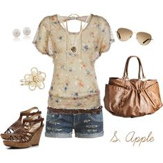 A fashion look from June 2012 featuring floral shirt, embellished tank and Wet Seal. Browse and shop related looks.