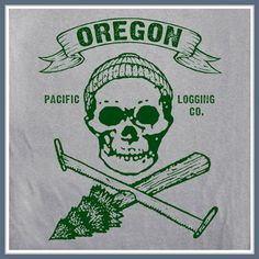 Oregon Logging T Shirt Pacific Loggers Swamp Chainsaw Skull Saw Cool Tee