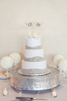 """Champagne + cream with the sweetest """"We Do"""" cake topper 