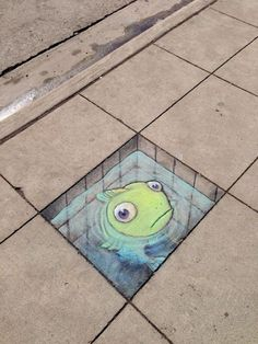 Street art, chalk drawing by David Zinn in Michigan.