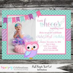 DIY Personalized Invitation: Pink Purple Teal Owl -Digital Invitation by Serendipity Celebrations -You Print -Printable Invite ♥♥♥