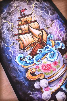 """Storm in a Teacup limited edition fine art print by ErikaPearce, $65.00 (Tattoo..maybe with blue octopus tentacle """"waves"""")"""