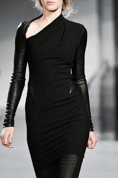 New Womens Ladies Cool Stylish Irregular Leather Long Sleeve Bodycon Midi Dress Dark Fashion, High Fashion, Womens Fashion, Unique Fashion, Looks Style, My Style, Mode Sombre, Style Haute Couture, Style Noir