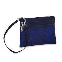 3 Zip Wristlet - Silk Jacquard (Cobalt Blue) Red Blossom, $9.95