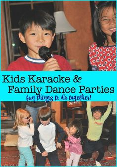 """Kids Karaoke and Family Dance Parties {Fun Things to Do Together!} A great way to burn off some energy, allow kids to """"get their sillies out"""", and to just have fun together is to engage in some kids karaoke and all-out family dance parties! Karaoke, Summer Diy, Summer Ideas, Dance Parties, Teen Parties, Organized Mom, Summer Activities, Family Activities, Family Traditions"""