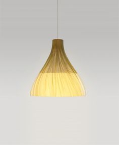 'Ning' – The pendant light is made from sliced and woven bamboo is dipped in a mix of porcelain powder and resin to create a glassy white band