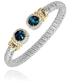 6 mm Bracelet in 14k Gold and Sterling Silver with 0.14 Diamond and London Blue Topaz - Vahan Jewelry