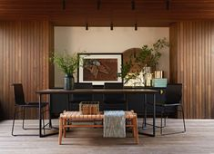 Modern Dining setting - perfect for refined entertainment. #modern #black #dining #leather #timber #chairs Featuring Dark Horse Metropolitan Chairs Quality Furniture, Modern Furniture, South African Design, Dark Horse, Entryway Tables, Horses, Dining, Living Room, Home Decor