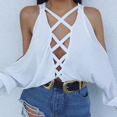 off the shoulder white shirt