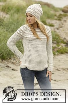 Crochet DROPS jumper and hat with stripes, worked top down in Puna. Size: S - XXXL. Free pattern by DROPS Design.