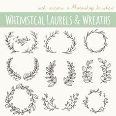 CLIP ART: Whimsical Laurels & Wreaths // Photoshop Brushes //