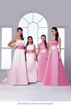 DAB11254 & DAF21251 Pink & Hot Pink from DZage Bridemaids