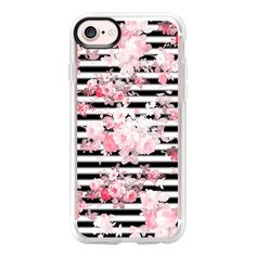 Vintage blush pink floral black white stripes - iPhone 7 Case And... ($40) ❤ liked on Polyvore featuring accessories, tech accessories, phone cases, iphone case, iphone cases, floral iphone case, vintage iphone case, apple iphone case and clear iphone case