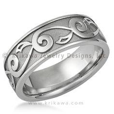 Vine & Leaf Eternity Wedding Ring - Beautiful designer wedding band that matches the Delicate Leaf engagement ring and diamond wedding band.