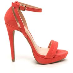 Worldly Woman Faux Suede Heels CORAL ($23) ❤ liked on Polyvore featuring shoes, pumps, red, coral pumps, red high heel pumps, ankle strap platform pumps, platform stilettos and platform pumps