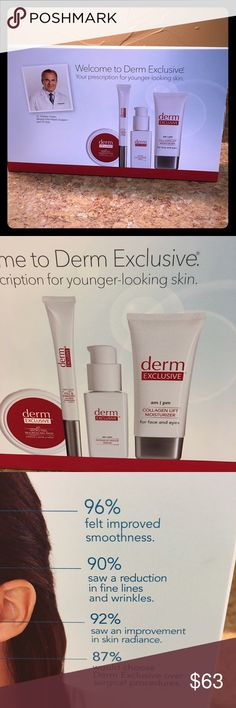 Derm Exclusive 30 Day Treatment Professional anti-aging system with a 30 day supply of micro-peel resurfacing pads, intensive repair serum, collagen lift moisturizer, and a fill & freeze wrinkle treatment! Brand new! Never opened! Derm Exclusive Makeup