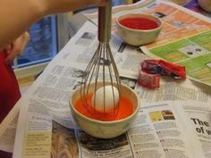 Easter egg dying for little hands. Use a whisk!! I'll have to remember this when Easter rolls around! GENIUS!!...