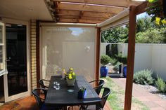 One up, one down...Roller Blinds First Down, Roller Blinds, Exterior, Patio, Outdoor Decor, Home Decor, Decoration Home, Room Decor, Outdoor Rooms