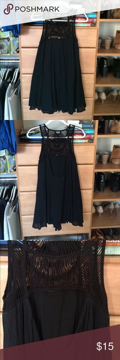 Fun black summer dress with back cutout Forever 21 black summer dress with back cutout, only worn once. Very comfortable and cute detail on chest area Forever 21 Dresses Mini