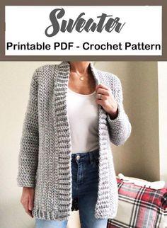 Make a Cozy Cardigan sweater – Crochet 2020 Pull Crochet, Crochet Coat, Chunky Crochet, Crochet Clothes, Crochet Sweaters, Diy Crochet, Crochet Cardigan Pattern Free Women, Knit Cardigan Pattern, Crochet Patterns Free Women