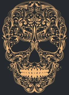 This ornate, damask style pattern is used to create a skull. Credit: Skull ornament by Patrick Seymour on Behance Caveira Mexicana Tattoo, Sugar Skull Artwork, Sugar Skull Drawings, Sugar Skull Wallpaper, Patrick Seymour, Dessin Old School, Catrina Tattoo, Totenkopf Tattoos, Candy Skulls