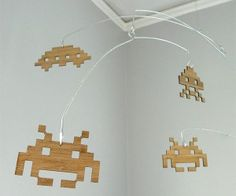 Space Invaders Laser-Cut Bamboo Mobile: Aliens Invade Your Nursery