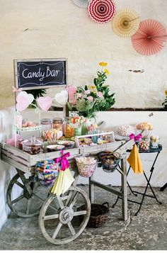 rustic garden candy bar decor ideas ideen Top 30 Wedding Food Bars You'll Love Wedding Food Bars, Candy Bar Wedding, Wedding Food Stations, Wedding Foods, Candy Bar Party, Sweet Carts, Engagement Party Decorations, Vintage Weddings Decorations, Backyard Engagement Parties