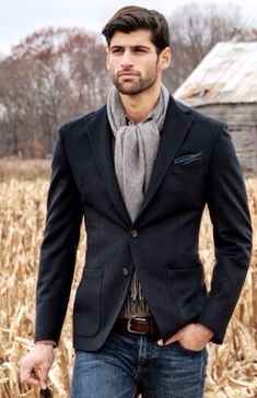 Charcoal Gray Corduroy Blazer and Gray Scarf. Mens Fall Winter Fashion.