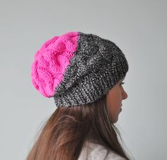 Neon Pink Cable Knit Beanie Hat, Chunky Knit Hat, Slouchy Beanie Hat, Hot Pink Beanie by SOVAknits on Etsy