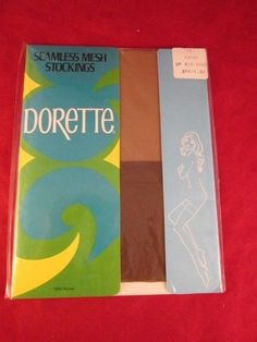 Vintage Ladies SEAMLESS MESH Stockings DORETTE COFFEE Color Nylon MAYCO New