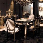 Mesa de Jantar Inox e Cadeira Medalhão