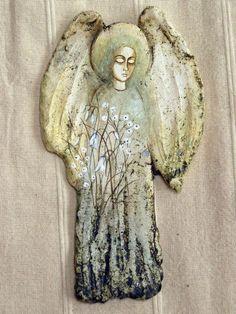 IRENA KWASNIEWSKA - Anioly Pottery Angels, Ceramic Angels, Polymer Clay Art, Art Object, Ceramic Art, Painted Rocks, Art Dolls, Paper Art, Sculptures