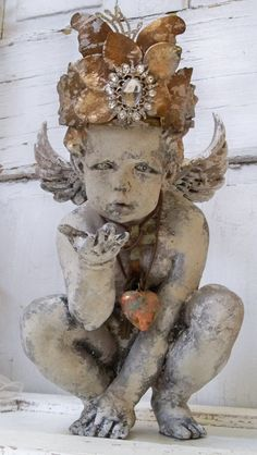Detailed Cherub statue adorned with handmade by AnitaSperoDesign, $290.00