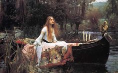 'The Lady of Shalott' by John William Waterhouse; Tate Britain, London I knew that the day that John William Waterhouse was bor. John William Waterhouse, Google Art Project, Romanticism Paintings, Art Paintings, Painting Art, River Painting, Paintings Famous, Famous Artwork, Renaissance