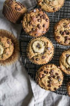 The Best Banana Chocolate Chip Muffins made with almond flour and no added sugar needed, thanks to extra ripe bananas. Gluten free and paleo recipe. Paleo Muffin Recipes, Fun Baking Recipes, Paleo Baking, Gluten Free Baking, Almond Recipes, Whole Food Recipes, Kitchen Recipes, Bread Recipes, Flours Banana Bread