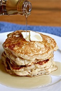 Mother's Day Buttermilk Pancakes. If you want thicker, fluffier pancakes add less buttermilk (closer to 3 1/2 cups for a full recipe); if you like your pancakes thinner, more like flap jacks, add more buttermilk.  Eggs, buttermilk, baking soda, flour, baking powder, salt, sugar, butter, vanilla.