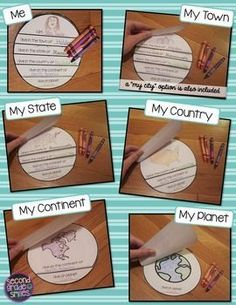 Me on the Map (Geography Flip Book) - easy-prep project to accompany the book Me on the Map by Joan Sweeney or any beginner map study. Students will identify the planet, continent, country, state, and city or town they live in and begin to understand the relative sizes of each. $