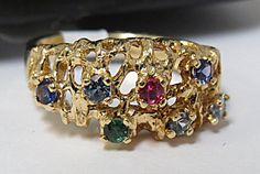 UNIQUE Diamond & Multi-Stone Ring - 14k Gold - Total Set Weight: 5.1 -  Gems: Each stone is .05 ct - Size: 7 - $225.00